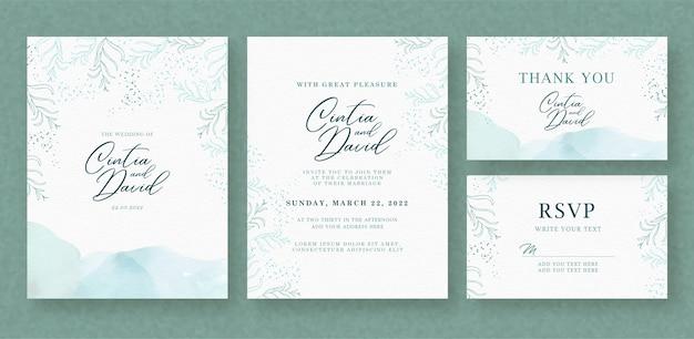 Beau modèle de carte d'invitation de mariage avec fond d'éclaboussure floral et bleu clair