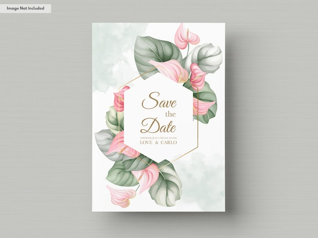 Beau modèle de carte d'invitation de mariage