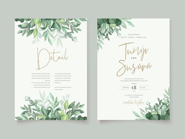 Beau modèle de carte de mariage floral aquarelle