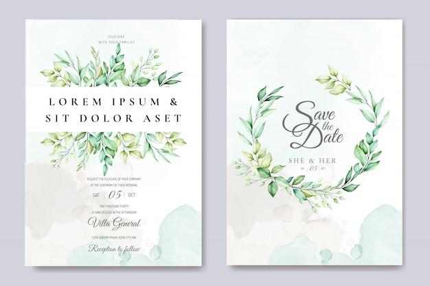 Beau modèle de carte de mariage floral avec aquarelles roses et feuilles