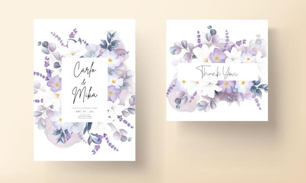 Beau modèle de carte de mariage floral blanc