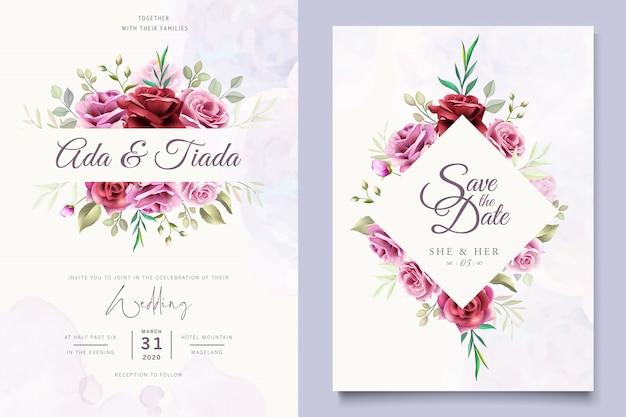 Beau modèle de carte de mariage floral