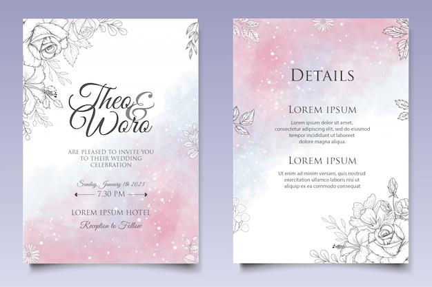 Beau modèle de carte de mariage splash et floral lineart