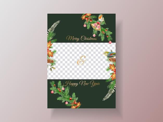 Beau modèle de carte avec ornement floral et de noël