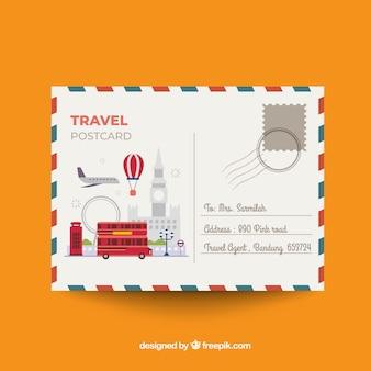 Beau modèle de carte postale de voyage