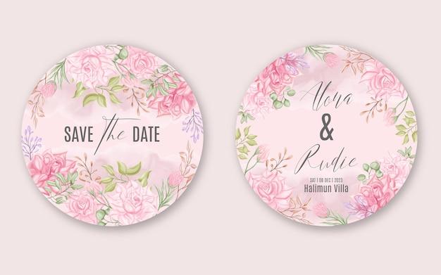 Beau modèle de carte ronde invitation de mariage avec beau cadre floral aquarelle