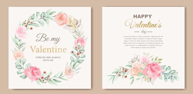 Beau modèle de carte de saint valentin avec guirlande florale