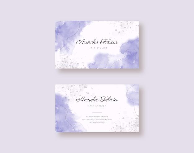 Beau modèle de carte de visite aquarelle violet