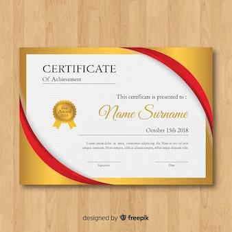 Beau modèle de certificat en or
