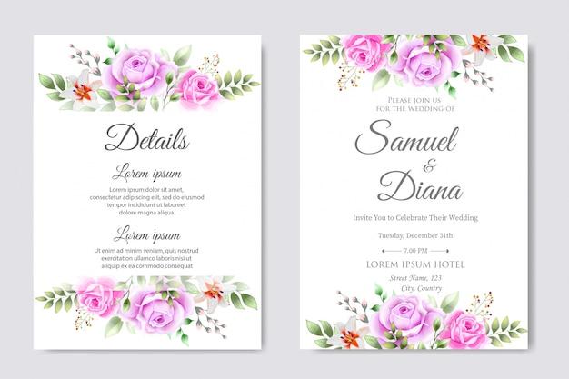 Beau modèle de conception de carte d'invitation de mariage
