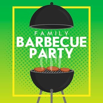 Beau modèle de conception d'invitation de fête barbecue vectoriel. conception d'affiches de barbecue à la mode avec barbecue au charbon de bois classique, fourchette, palette de cuisson et exemple de texte