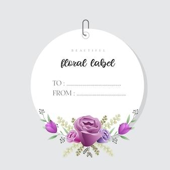 Beau modèle d'étiquette floral aquarelle
