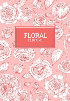 Beau modèle de flyer décoré d'un motif avec des fleurs roses anglaises avec des lignes de contour