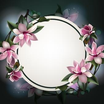 Beau modèle de fond de fleur de printemps avec espace de copie et cadre