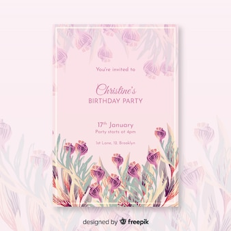 Beau modèle d'invitation d'anniversaire floral