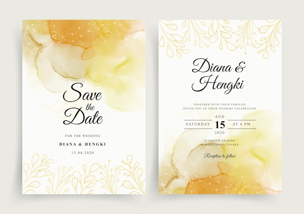 Beau modèle d'invitation de carte de mariage avec aquarelle peinte à la main