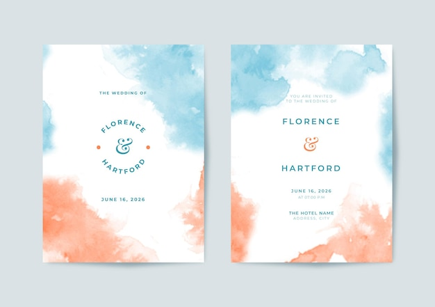 Beau modèle d'invitation de mariage aquarelle bleu et orange