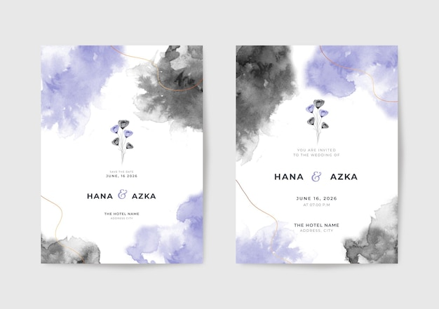 Beau modèle d'invitation de mariage aquarelle noir et violet
