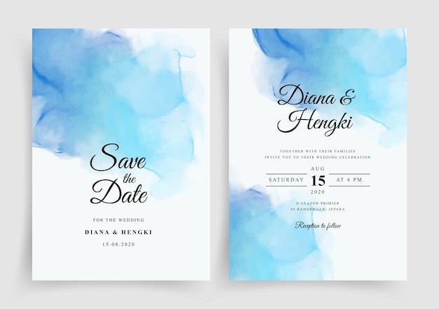 Beau modèle d'invitation de mariage avec aquarelle peinte à la main
