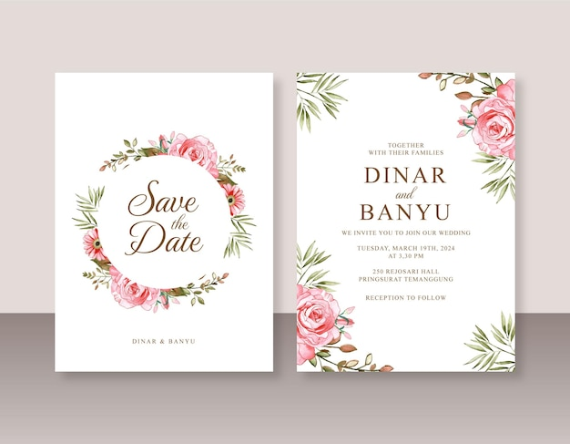 Beau modèle d'invitation de mariage avec aquarelle rose
