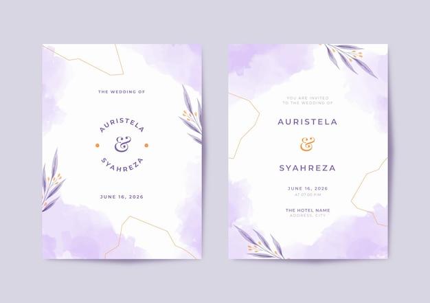 Beau modèle d'invitation de mariage aquarelle violet