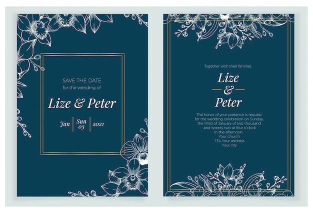 Beau modèle d'invitation de mariage bleu marine classique avec floral dessiné à la main.