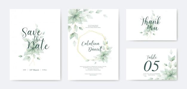 Beau modèle d'invitation de mariage avec des feuilles