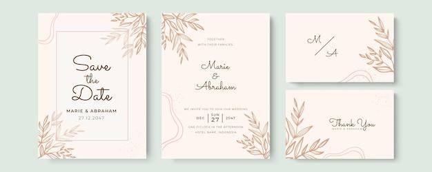 Beau modèle d'invitation de mariage avec des fleurs dessinées à la main et des feuilles de couleur pastel