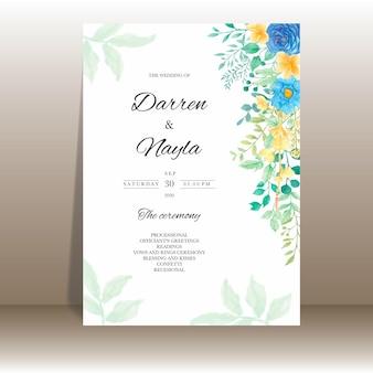 Beau modèle d'invitation de mariage avec des fleurs et des feuilles aquarelles