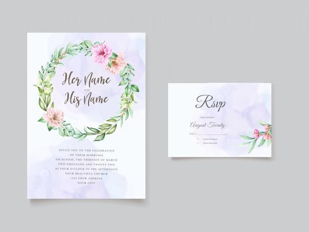 Beau modèle d'invitation de mariage floral aquarelle