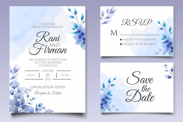 Beau modèle d'invitation de mariage floral en bleu classique