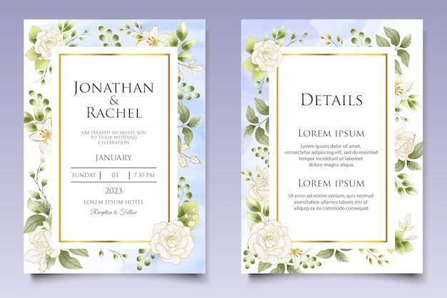 Beau modèle d'invitation de mariage floral et feuilles