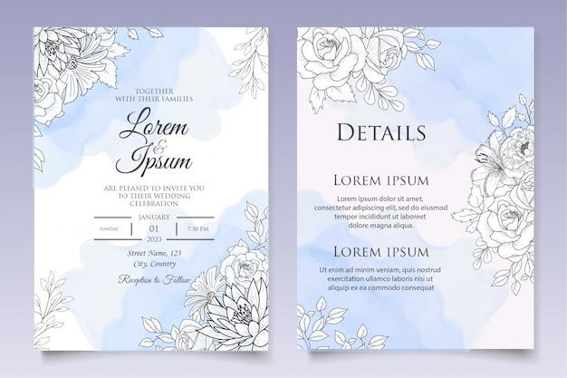 Beau modèle d'invitation de mariage floral avec style dessiné à la main