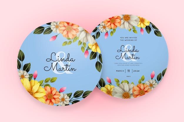 Beau modèle d'invitation de mariage floral