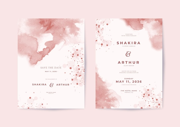 Beau modèle d'invitation de mariage avec un fond aquarelle élégant