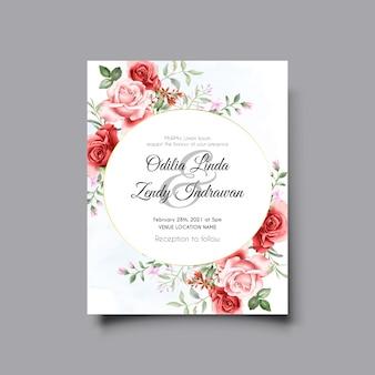 Beau modèle d'invitation de mariage illustration rose rouge et rose