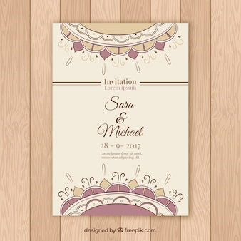 Beau modèle d'invitation de mariage mandala