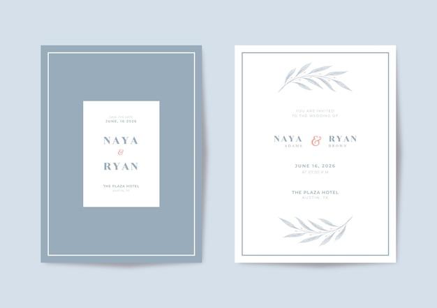 Beau modèle d'invitation de mariage minimaliste