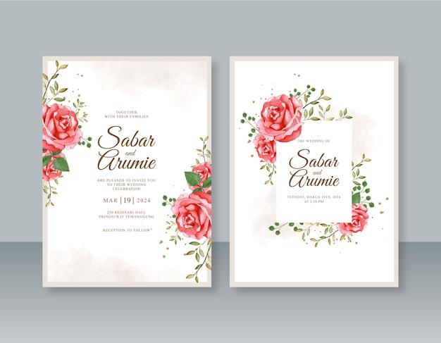 Beau modèle d'invitation de mariage avec peinture aquarelle florale