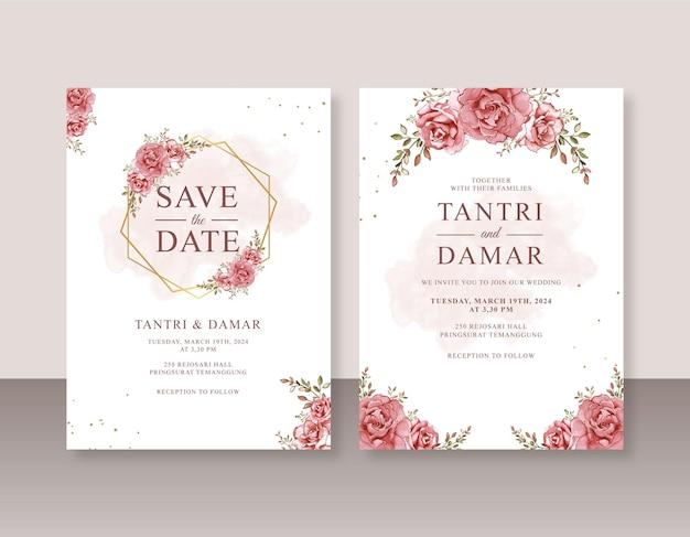 Beau modèle d'invitation de mariage avec peinture à l'aquarelle de roses