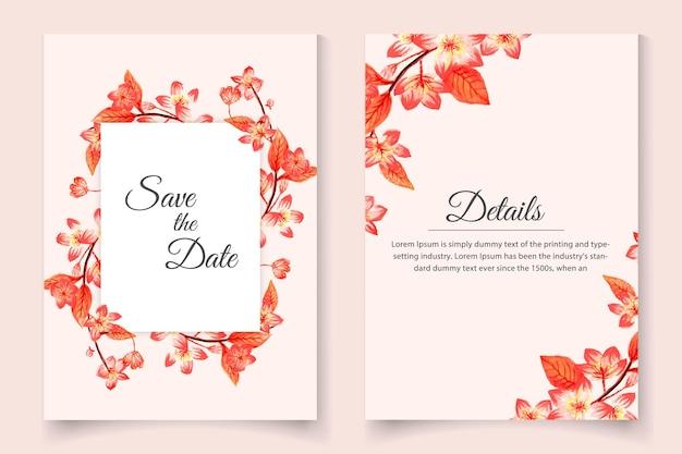 Beau modèle de jeu de cartes d'invitation de mariage dessiné main floral aquarelle