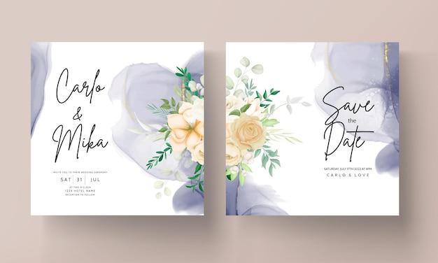 Beau modèle de jeu d'invitation de mariage floral dessin à la main