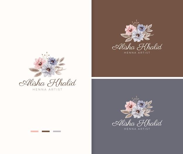 Beau modèle de logo floral aquarelle rustique