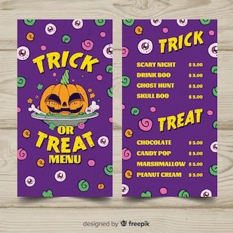 Beau modèle de menu halloween dessiné à la main