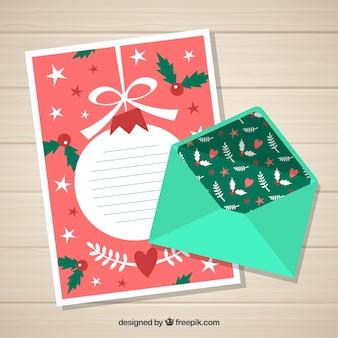 Beau modèle de noël d'une lettre avec enveloppe