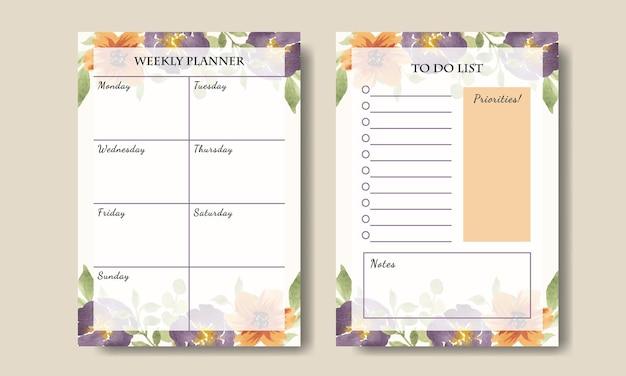 Beau modèle de planificateur hebdomadaire avec fond de fleurs jaune violet aquarelle imprimable