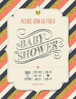 Beau modèle rétro de carte de baby shower avec des détails dorés brillants