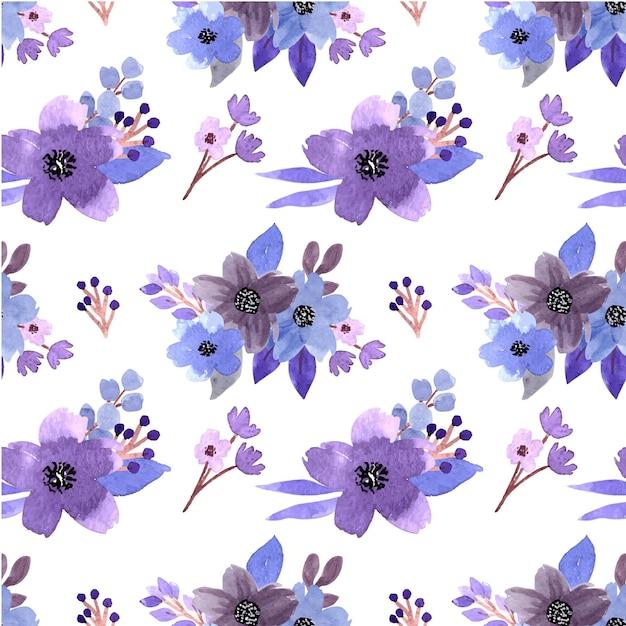 Beau modèle sans couture aquarelle bouquet floral bleu pourpre