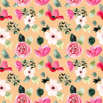 Beau modèle sans couture aquarelle floral rose