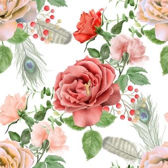 Beau modèle sans couture aquarelle floral